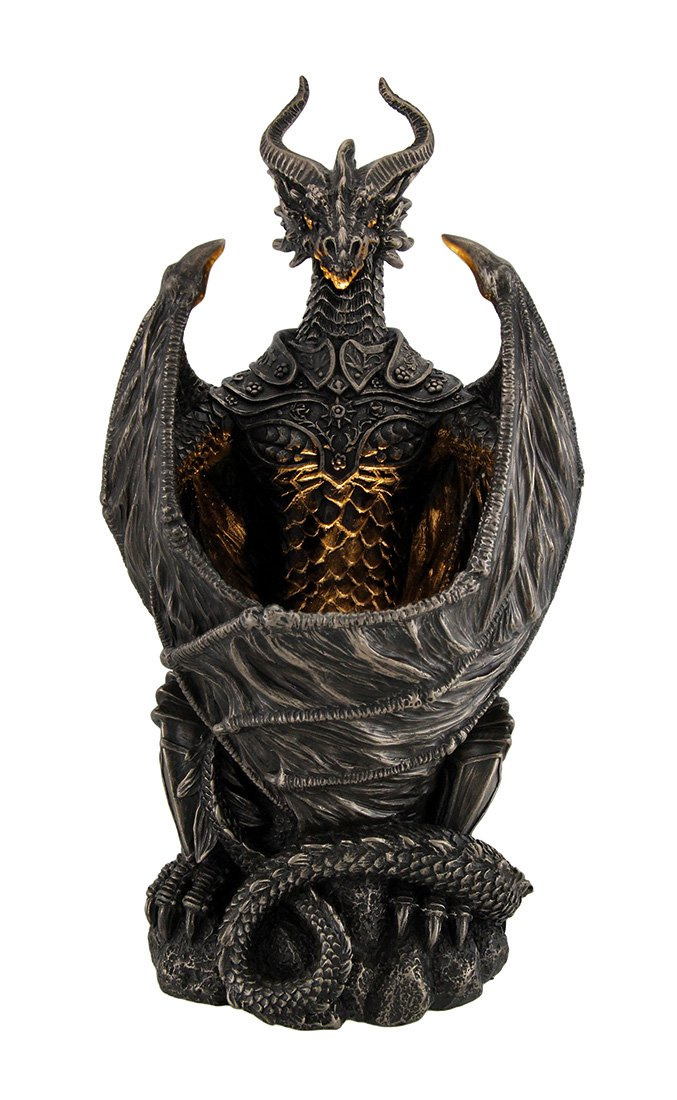 Resin Statues Guardian Of The Light Armored Dragon Led Night Light Statue 10 Inch 5 X 9.5 X 4.25 Inches Bronze