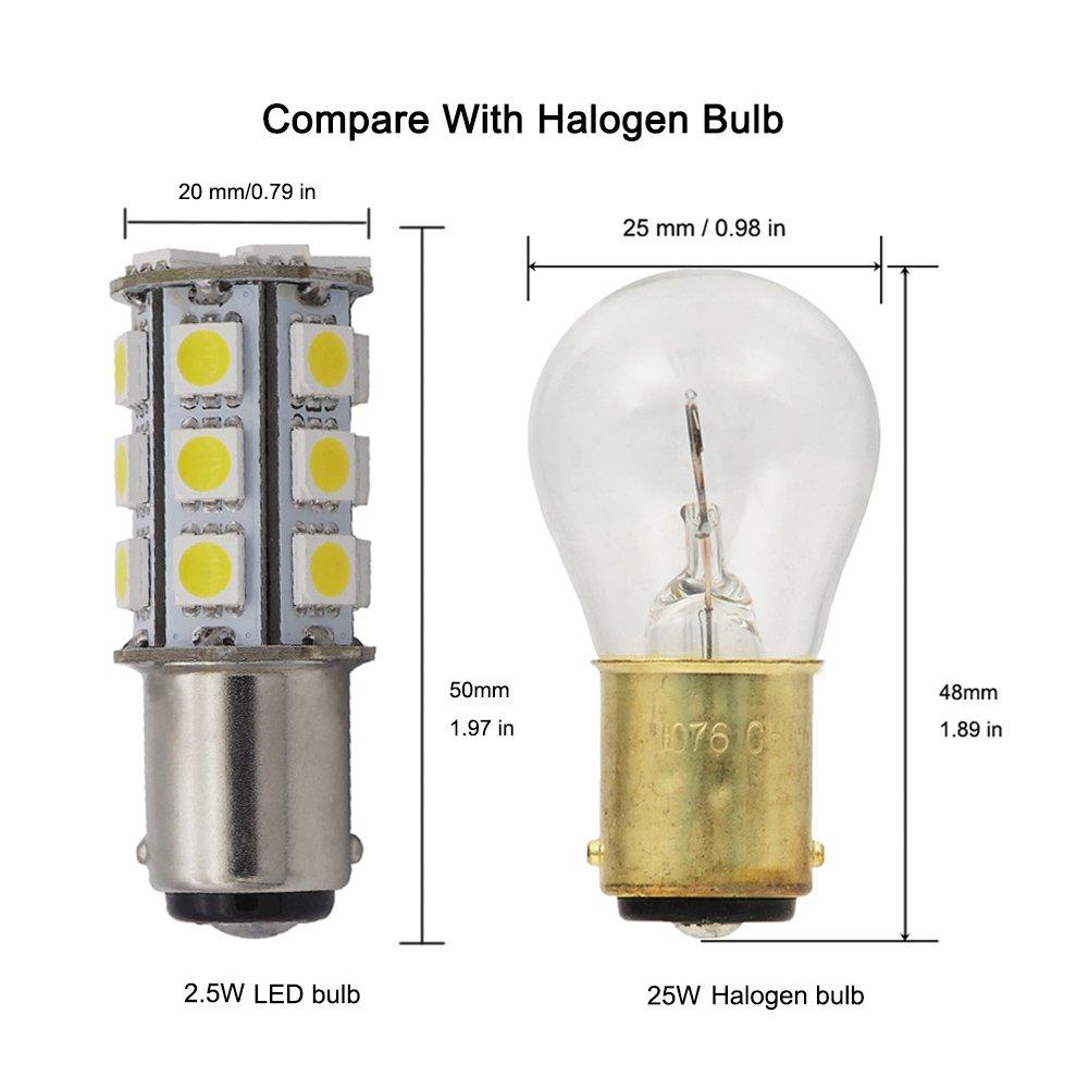 GRV Ba15d 1142 1076 High Power Car LED Bulb 24-5050 SMD DC 12V Cool White Pack of 6