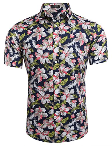 (COOFANDY Men's Floral All Over Print Button Down Short Sleeve Shirt,Navy Blue&flower,Small )
