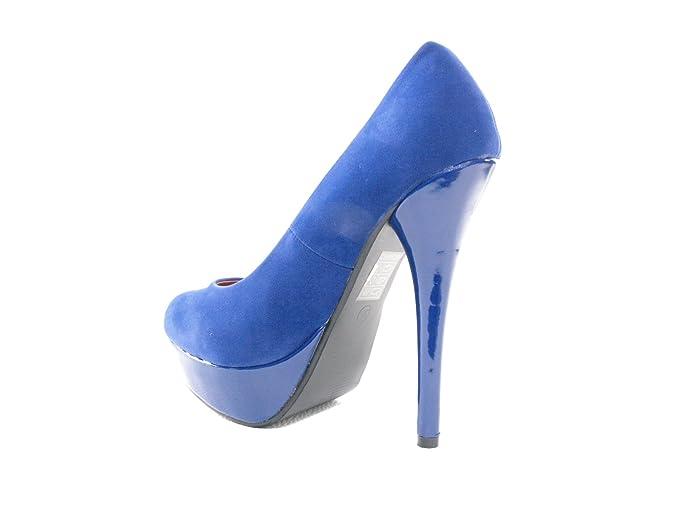Damen High Heel Pumps Partyschuhe Abendschuhe Blau # 7682