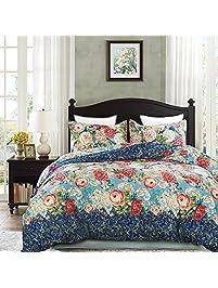 vaulia lightweight microfiber duvet cover sets vintage floral pattern design queen size