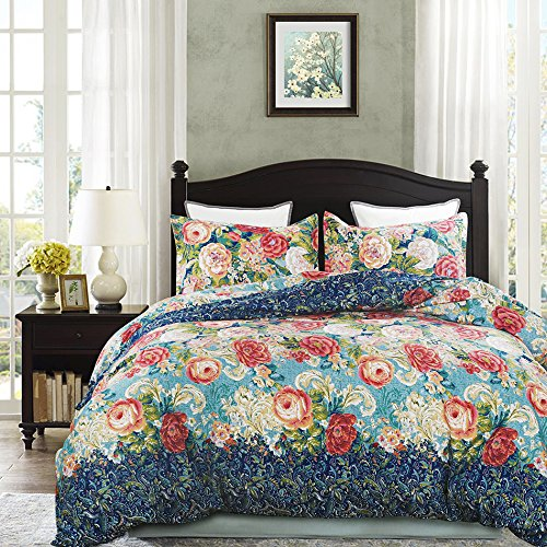 Vaulia Lightweight Microfiber Duvet Cover Sets, Vintage Floral Pattern Design - Queen Size - Floral Bed Cover