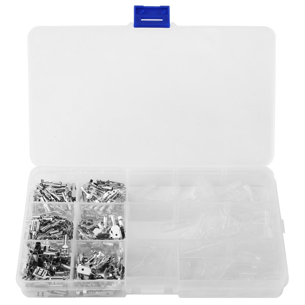 Shrink Wire Connector Kit 6.3/4.8/2.8mm Crimp Terminal Male+Female Blade Connectors and Transparent Sleeves