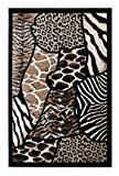 Animal Prints Area Rug Design Skinz 70 Black (8 Feet X 10 Feet)