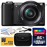 Sony Alpha A5000 20.1 MP Interchangeable Mirrorless Lens Camera with 16-50mm OSS Lens ILCE5000L (Black) with Starter Accessories Bundle Kit includes 32GB Class 10 SDHC Memory Card + Hard Shell Carrying Case + Camera Lens Cleaning Kit + Bonus for Digital Prints
