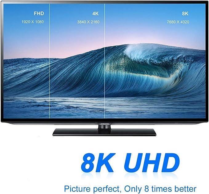 RIMICAB 8K - Cable HDMI UHD HDR 8K (7680x4320) de alta velocidad 48Gbps 8K@60Hz 4K@120Hz HDCP2.2 HDR eARC 3D HDMI para PS4 Settop Box HDTVs proyector 1,5 m 5ft Cobra 1 m:
