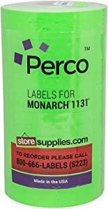 Flou. Green Pricing Labels for Monarch 1131 Price Gun - 1 Sleeve, 20,000 Price Gun Labels - with Bonus Ink Roll