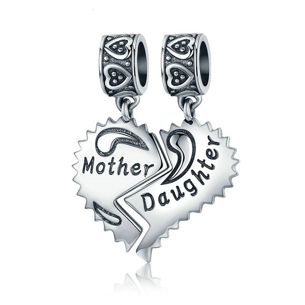 EyeCandy US Mother and Daughter 100% 925 Sterling Silver Love Forever Pendant Charms fit Bracelets Necklace Jewelry Making by EyeCandy US (Image #1)