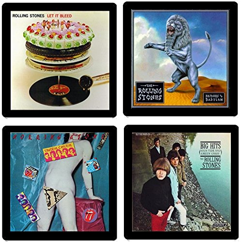 Rolling Stones Coaster Gift Collection - (4) Different Album Covers Reproduced Onto Absorbent, Soft, Drink Coasters