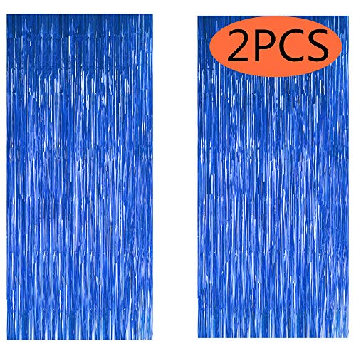 FECEDY 2pcs 3ft x 8.3ft Navy Blue Metallic Tinsel Foil Fringe Curtains Photo Booth Props for Birthday Wedding Engagement Bridal Shower Baby Shower Bachelorette Holiday Celebration Party Decorations ()