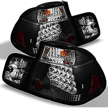 For 02-05 BMW E46 3-Series 4 Doors Sedan Red Smoke Light Tube Design LED Tail Lights Brake Lamps Pair