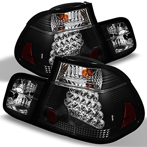 For 02-05 BMW E46 3-Series 4 Doors Sedan Black Light Tube Design LED Tail Lights Brake Lamps Pair