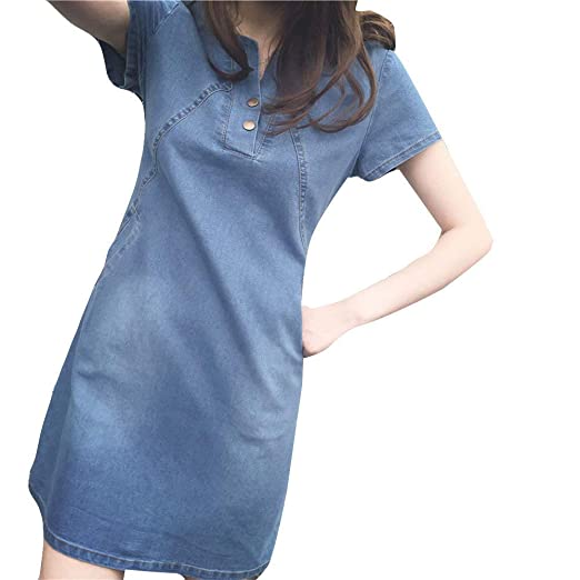 ea5db3a3b2bef Women Plus Size Dress Korean Casual Denim Ready Dinner Sexy Evening Dress  Midi Dresses Short Sleeve Tops for Girls at Amazon Women's Clothing store: