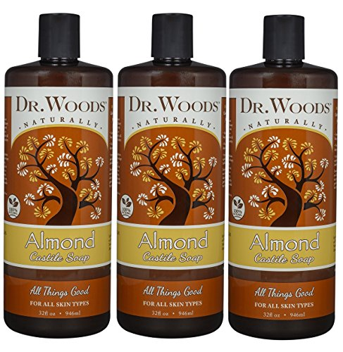 Dr. Woods Pure Almond Liquid Castile Soap, 32 Ounce (Pack of 3)