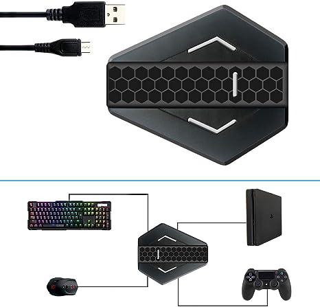 Adaptador de Teclado y Ratón, USB Convertidor Compatible con PS4, PS3, Xbox One, Xbox 360 y Nintendo Switch para Juegos FPS