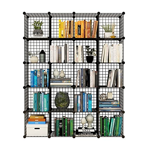 Tespo Metal Wire Storage Cubes, Modular Shelving Grids, DIY Closet Organization System, Bookcase, Cabinet, (20 – Regular Cube)