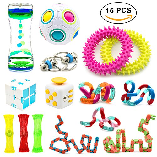 15 Pack Increase Focus Relieves Stress Bundle Sensory Fidget Toys-Fidget Chain/Cube/Ring,Infinity Cube,Liquid Motion Timer,Wacky Tracks Snap ADD ADHD Toy for Kid and Adult