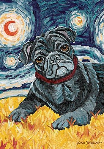 (Toland Home Garden Van Growl Black Pug 28 x 40 Inch Decorative Puppy Dog Portrait Starry Night House)