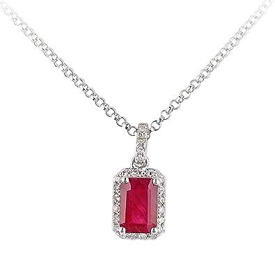 460961523ea4 Revoni 18ct White Gold Ruby and Diamond Pendant Necklace  Amazon.co.uk   Jewellery