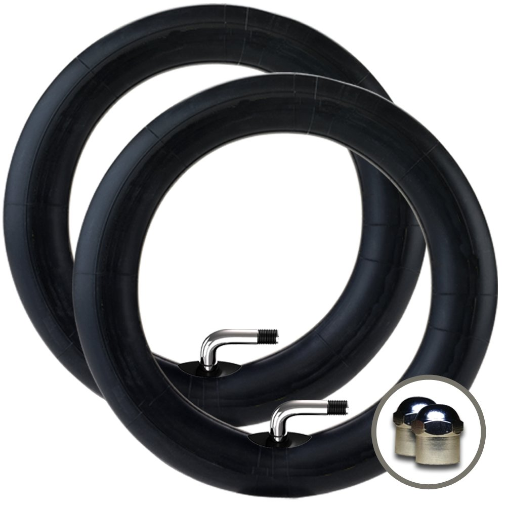 2 x MAXI COSI SPEEDI Stroller/Jogger FRONT Inner Tubes 10'' x 1.75 - 2.00 (90º Bent/Angled Valve) + + FREE Upgraded Skyscape Metal Valve Caps (Worth $4.99)