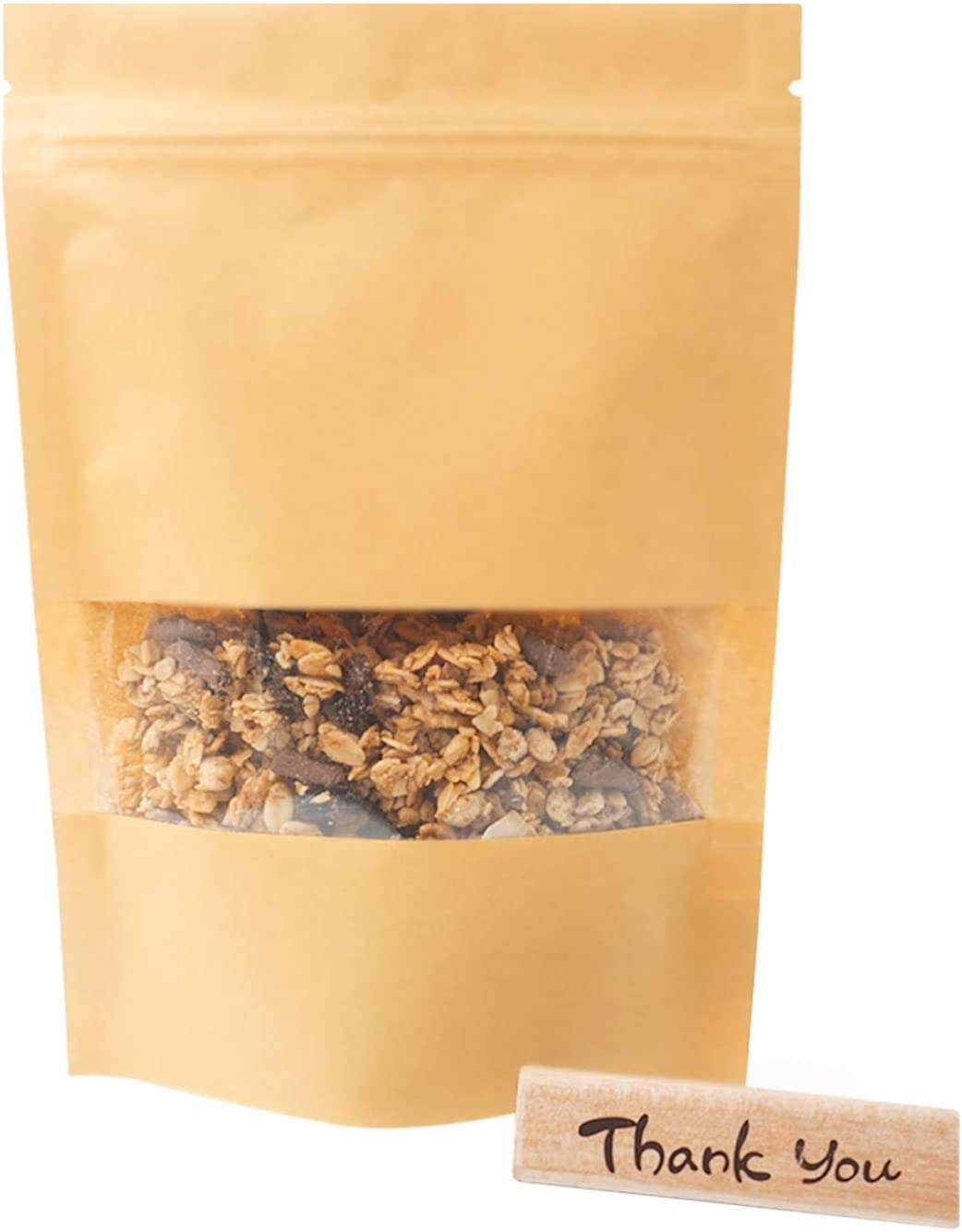 Stand Up Pouches with Window - Food PackagingKraftPaperBags with Resealable Ziplock 50 Pcs 5.5 x 8.6in (14 x 22cm) use for herb, coffee beans, nuts, snacks, Thank You Wooden Stamp included