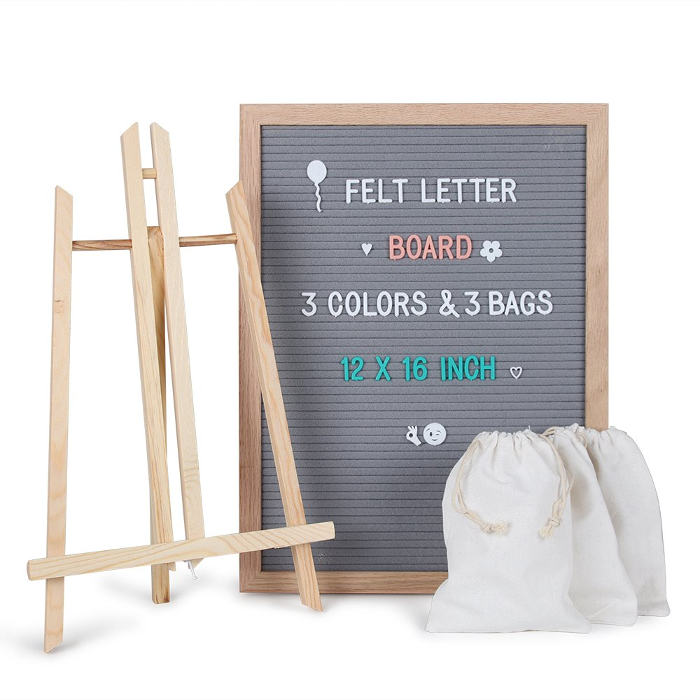 Changeable Felt Letter Board Sign 12 x 16 - Gray Message Board Set with 678 Letters, Number, Symbols, Oak Wooden Frame, Tripod Stand, Wall Mount,& Free Storage Bag Perfect Gift