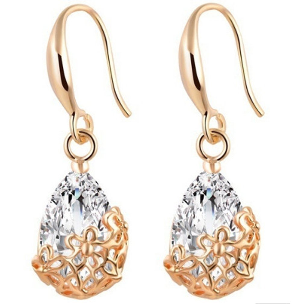 Yesiidor Water Drop Dangle Earrings Hollow Out Carved Zircon Diamond Hooking Earrings Jewellery