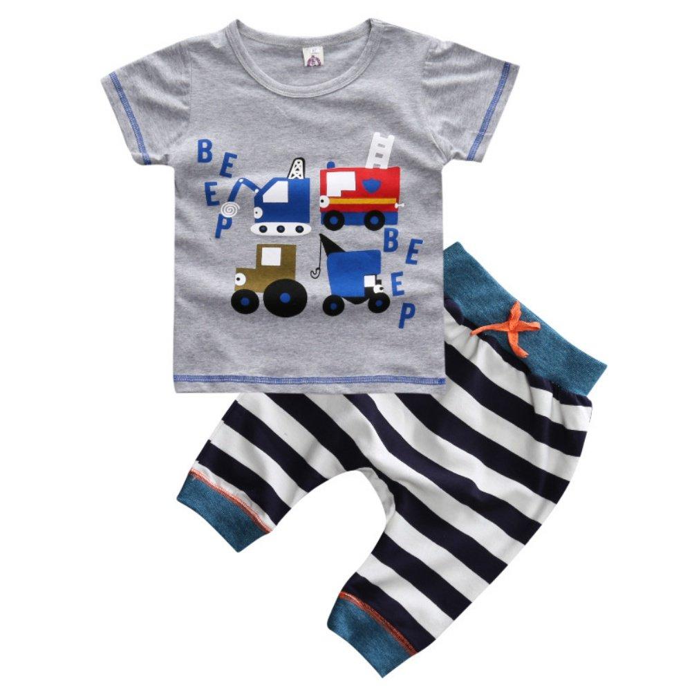 Stripe Shorts Trousers 2Pcs Clothes Set Loveble Fashion Summer Boy Cute Cartoon Car Pattern Short Sleeve T-Shirt