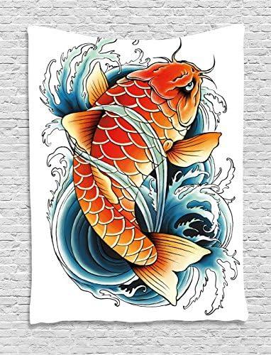 Peces Koi tapiz por lunarable, tatuaje estilo dibujo de Angry ...
