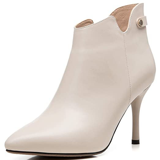 Genuine Leather Women's Pointed Toe Stiletto Heel Basic Business Handmade Simple Ankle Boots