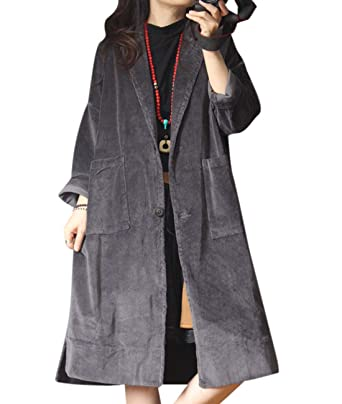 e008549eba YESNO YT4 Women Long Maxi Corduroy Jacket Loose Fit Lined Trench Coat Norch  Lapel Long Sleeve