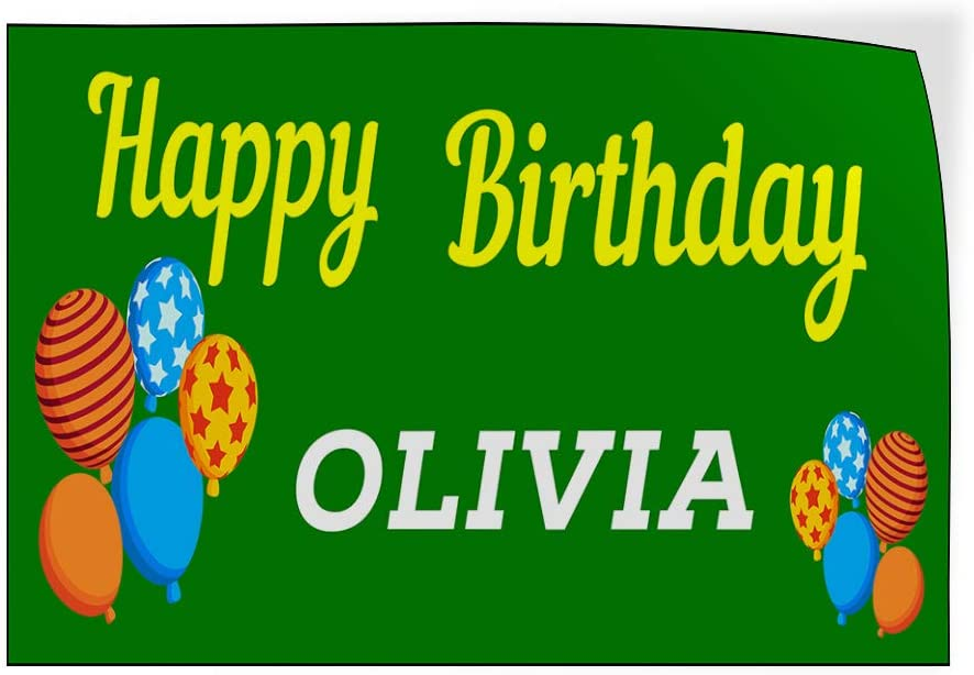 Custom Door Decals Vinyl Stickers Multiple Sizes Happy Birthday Girl Name B Holidays and Occasions Happy Birthday Outdoor Luggage /& Bumper Stickers for Cars Green 58X38Inches Set of 2