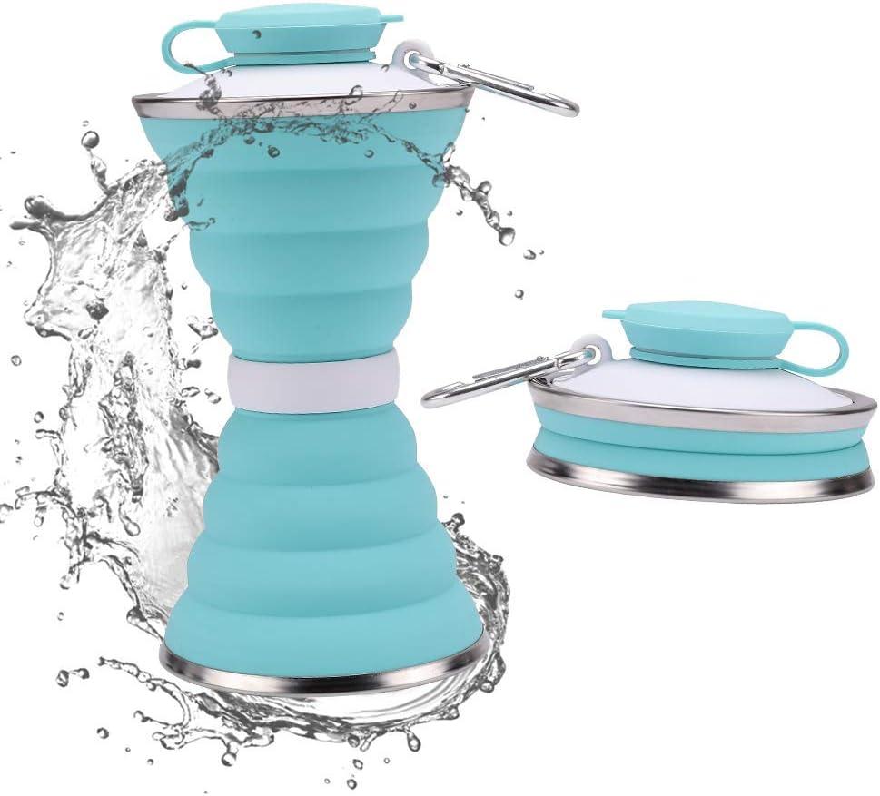 JackWish Botella Deportiva de Silicona Plegable - sin BPA, aprobada por la FDA, portátil, Reutilizable, a Prueba de Fugas, Adecuada para Exteriores, gimnasios, Viajes