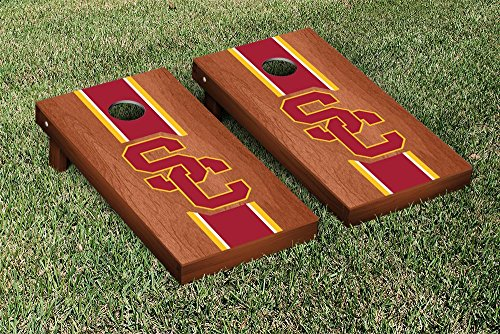 Southern California USC Trojans Regulation Cornhole Game Set Rosewood Stained Stripe Version by Victory Tailgate