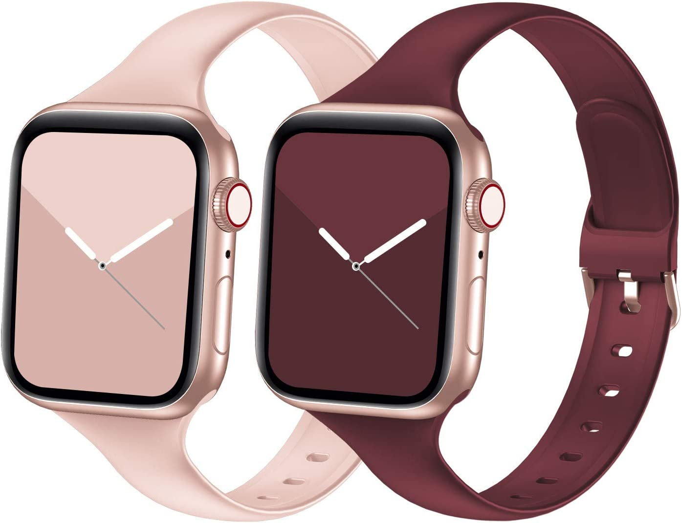 Seizehe Compatible with Apple Watch Band 38MM 40MM Series 3 Series 5, Silicone Slim Thin Narrow iWatch Bands 38MM 40MM Womens Compatible for Apple Watch SE Series 6 5 4 3 2 1