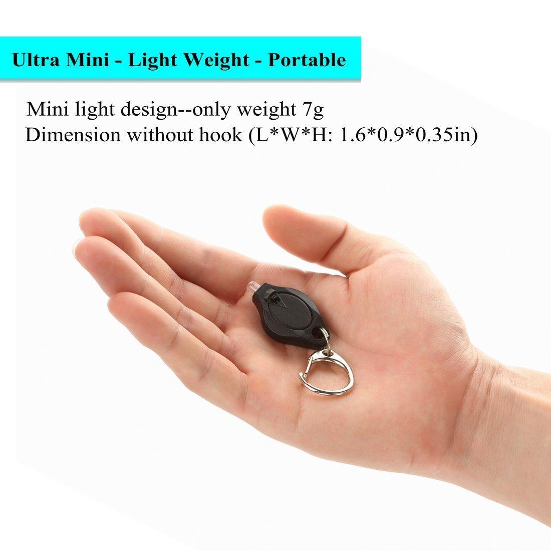 f7c5b506b9736f Rabi confezione da 6 mini torcia LED portachiavi ultra luminosa luce Torcia  con gancio (nero): Amazon.it: Fai da te
