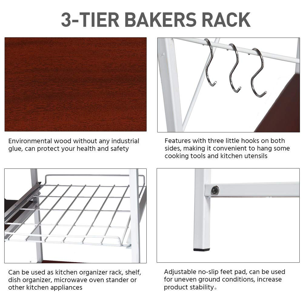 3-Tier Baker's Rack, Microwave Cart Oven Stand with 3 Hanging Hooks & Spice Rack for Kitchen Storage, Steel Plate Type, Wine Amiley 【Ship from USA】 (Wine) by Amiley Kitchen Rack (Image #3)