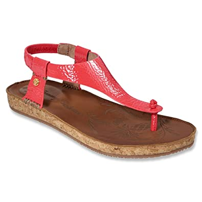 Tommy Bahama Womens Tanna Sandal,Bright Coral Crinkled Patent Leather,US 7 B