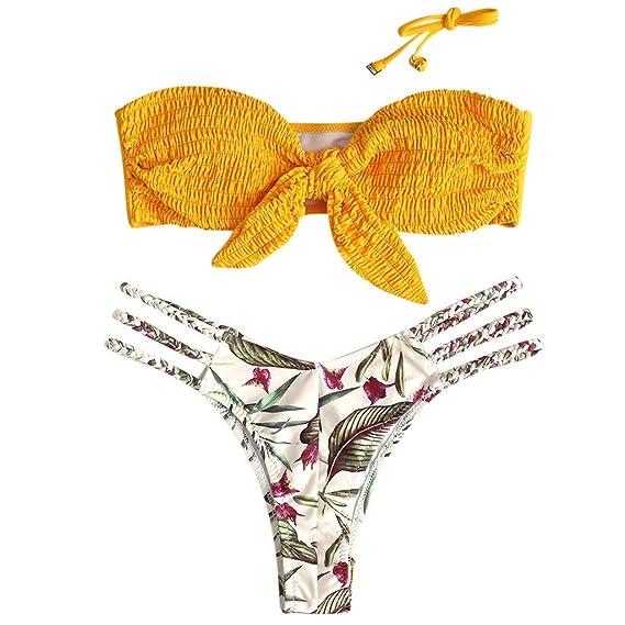 6a8c8bd7072d riou Bikini Conjuntos de Bikinis para Mujer Push Up Mujeres Traje de BañO  Estampado Bohemio Dividido BañAdores con Relleno Tops y Braguitas Mujer  2019 ...