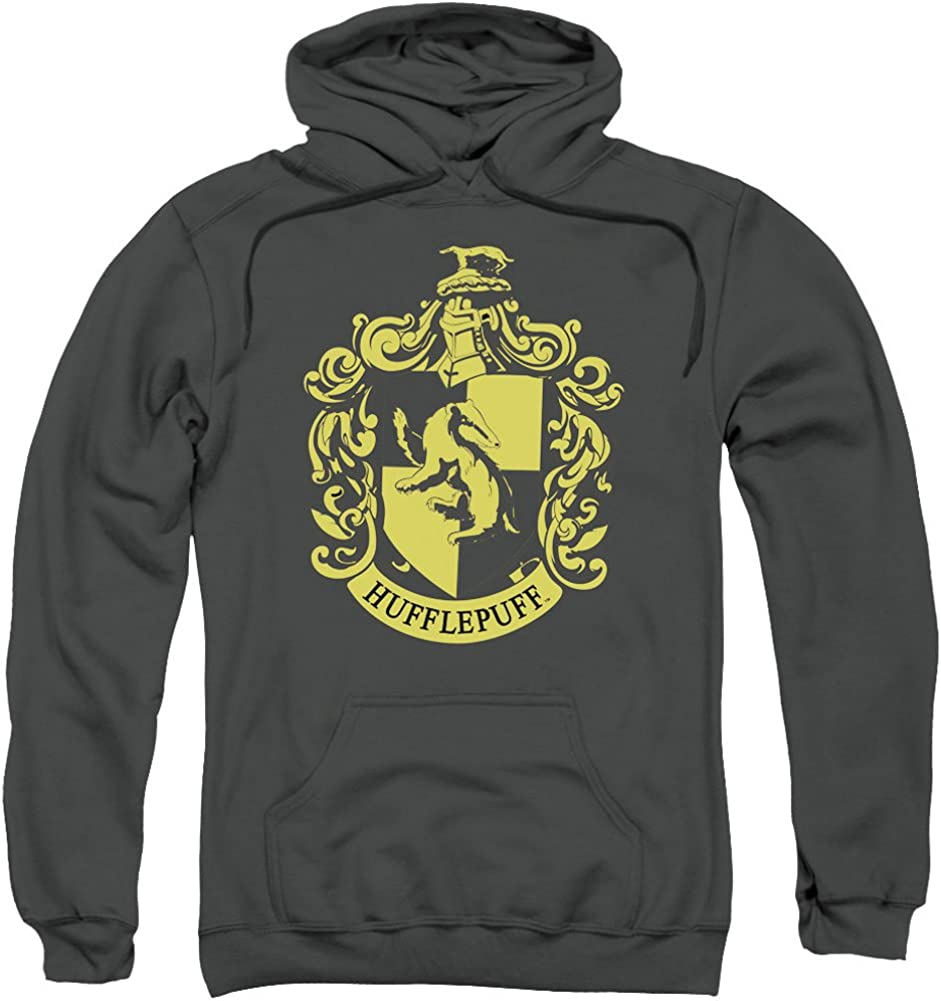 Harry Potter Hufflepuff Crest Adult Pull Over Hoodie Charcoal
