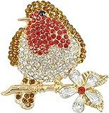 Gyn&Joy Austrian Crystal Multicolored Rhinestones Cute Bird Fly Animal Brooch Pin Gold-Tone