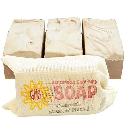 Goat Milk Soap – OATMEAL, MILK HONEY. All-Natural, Handmade by Goat Milk Stuff. Bars 5 oz. each, 4 Count
