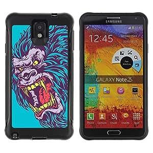 Hybrid Anti-Shock Defend Case for Samsung Galaxy Note 3 / Evil Neon Gorilla