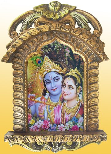 Radha-krishna Painting in Painting in Jarokha Made with Wood Crafts