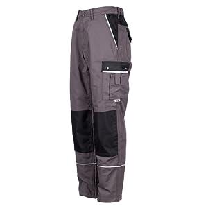 TMG® - Pantalon de travail style cargo - poches pour genouillères - gris