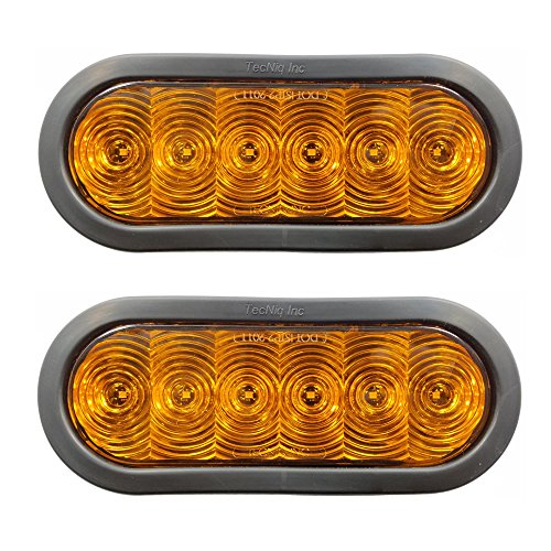 """Pair of TecNiq 6"""" Oval Amber Turn Signal LED Lights - Grommet Mounted for Trailers-Trucks-RVs"""