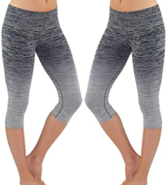 Evera Womens Ombre Yoga Athletic Workout Exercise Capris Leggings ...