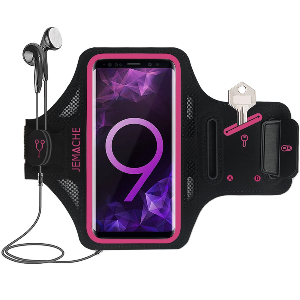 Premium Galaxy S8/S9 Plus Armband, JEMACHE Ultra Thin Sweatproof Gym Run/Workout Arm Band Case for Samsung Galaxy S8/S9 Plus with Key/Card Holder (Rosy)