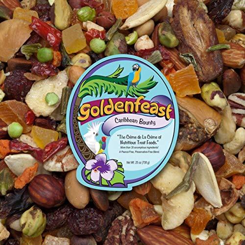 Golden Feast Nutritious Treat Bird Food, 25 Ounces, Caribbean Bounty, for All Medium to Large Exotics