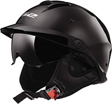 Ocamo Motorcycle High Strength Open Face Capacete Motorcycle Vintage Helmets with Dual Lens Matte black XL